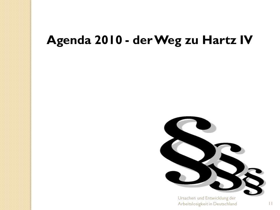 Folie 1 Ursachen und Entwicklung der Arbeitslosigkeit in Deutschland11 Agenda 2010 - der Weg zu Hartz IV