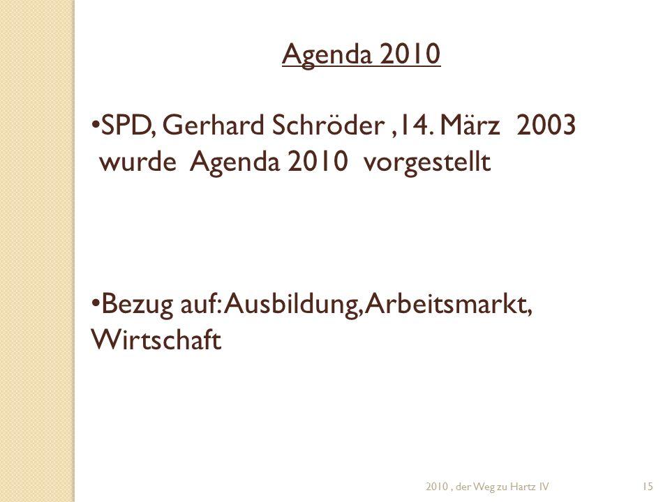 Agenda 2010 SPD, Gerhard Schröder,14.