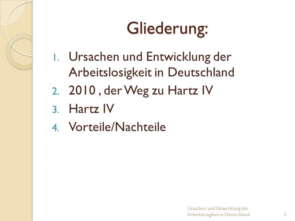 Gliederung: 1. Ursachen und Entwicklung der Arbeitslosigkeit in Deutschland 2.