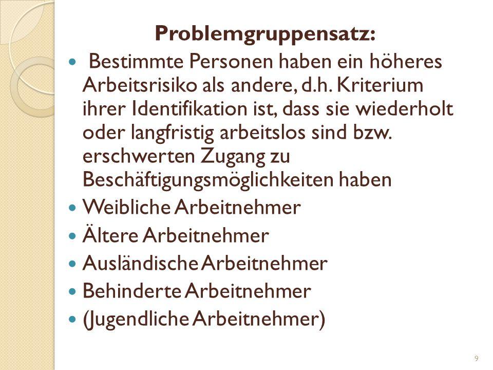 Problemgruppensatz: Bestimmte Personen haben ein höheres Arbeitsrisiko als andere, d.h.