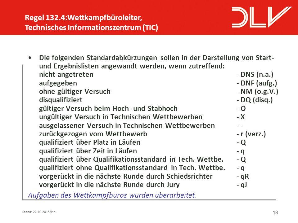 18 Die folgenden Standardabkürzungen sollen in der Darstellung von Start- und Ergebnislisten angewandt werden, wenn zutreffend: nicht angetreten - DNS (n.a.) aufgegeben- DNF (aufg.) ohne gültiger Versuch- NM (o.g.V.) disqualifiziert- DQ (disq.) gültiger Versuch beim Hoch- und Stabhoch- O ungültiger Versuch in Technischen Wettbewerben- X ausgelassener Versuch in Technischen Wettbewerben- - zurückgezogen vom Wettbewerb- r (verz.) qualifiziert über Platz in Läufen - Q qualifiziert über Zeit in Läufen- q qualifiziert über Qualifikationsstandard in Tech.