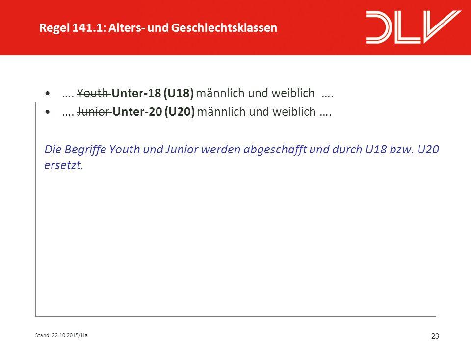 23 …. Youth Unter-18 (U18) männlich und weiblich ….
