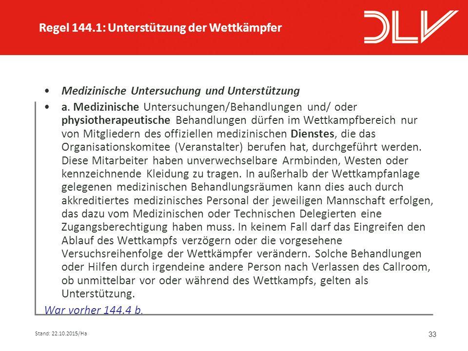 33 Medizinische Untersuchung und Unterstützung a.