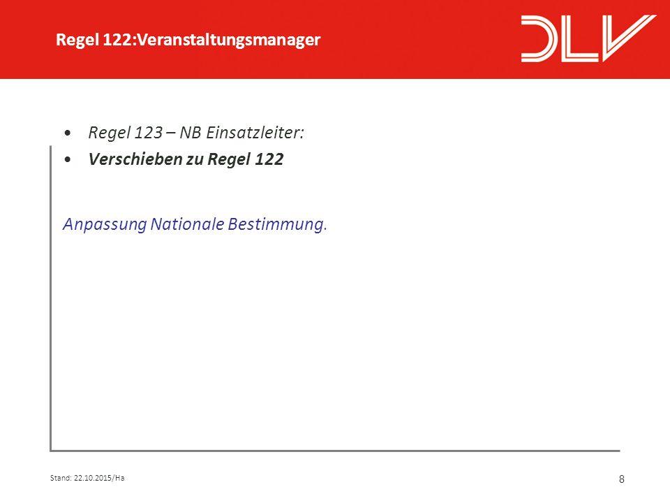 8 Regel 123 – NB Einsatzleiter: Verschieben zu Regel 122 Anpassung Nationale Bestimmung.