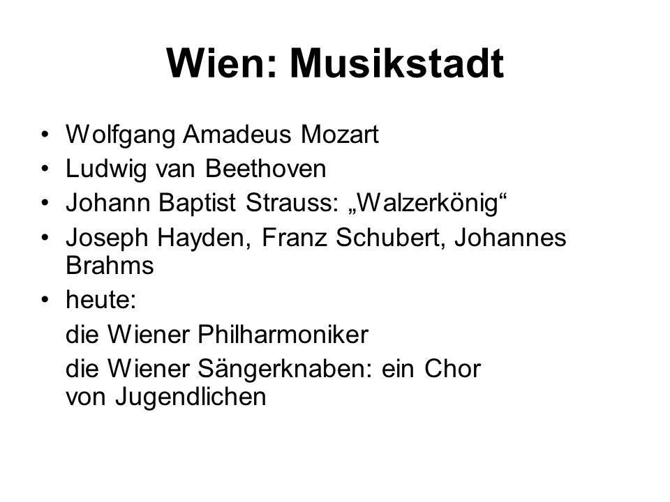 """Wien: Musikstadt Wolfgang Amadeus Mozart Ludwig van Beethoven Johann Baptist Strauss: """"Walzerkönig"""" Joseph Hayden, Franz Schubert, Johannes Brahms heu"""