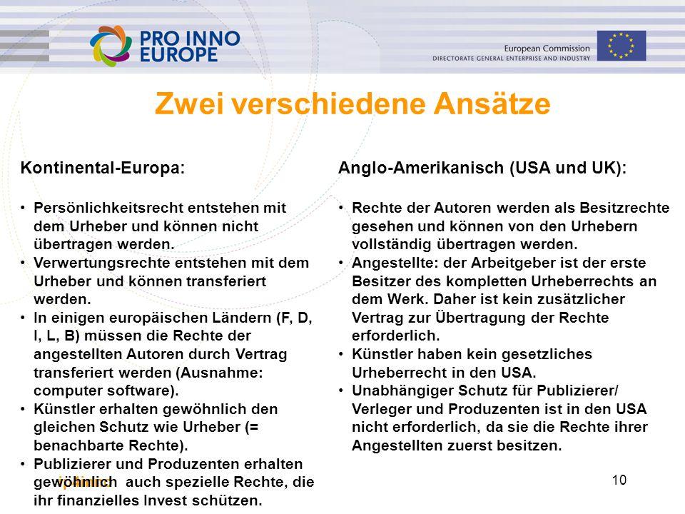 ip4inno 10 Zwei verschiedene Ansätze Kontinental-Europa: Persönlichkeitsrecht entstehen mit dem Urheber und können nicht übertragen werden. Verwertung