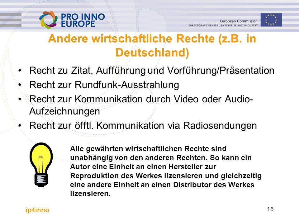 ip4inno 15 Andere wirtschaftliche Rechte (z.B. in Deutschland) Recht zu Zitat, Aufführung und Vorführung/Präsentation Recht zur Rundfunk-Ausstrahlung