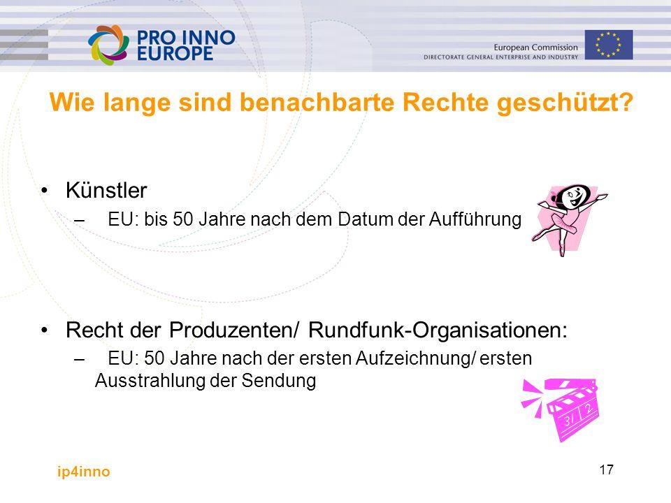 ip4inno 17 Wie lange sind benachbarte Rechte geschützt? Künstler –EU: bis 50 Jahre nach dem Datum der Aufführung Recht der Produzenten/ Rundfunk-Organ