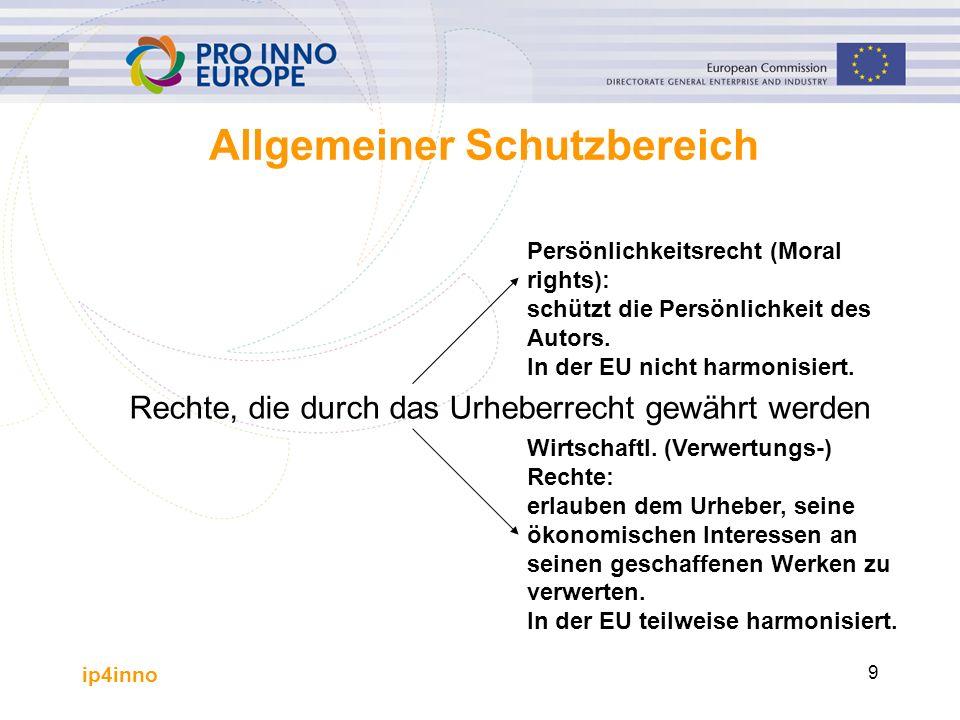 ip4inno 9 Allgemeiner Schutzbereich Rechte, die durch das Urheberrecht gewährt werden Wirtschaftl. (Verwertungs-) Rechte: erlauben dem Urheber, seine