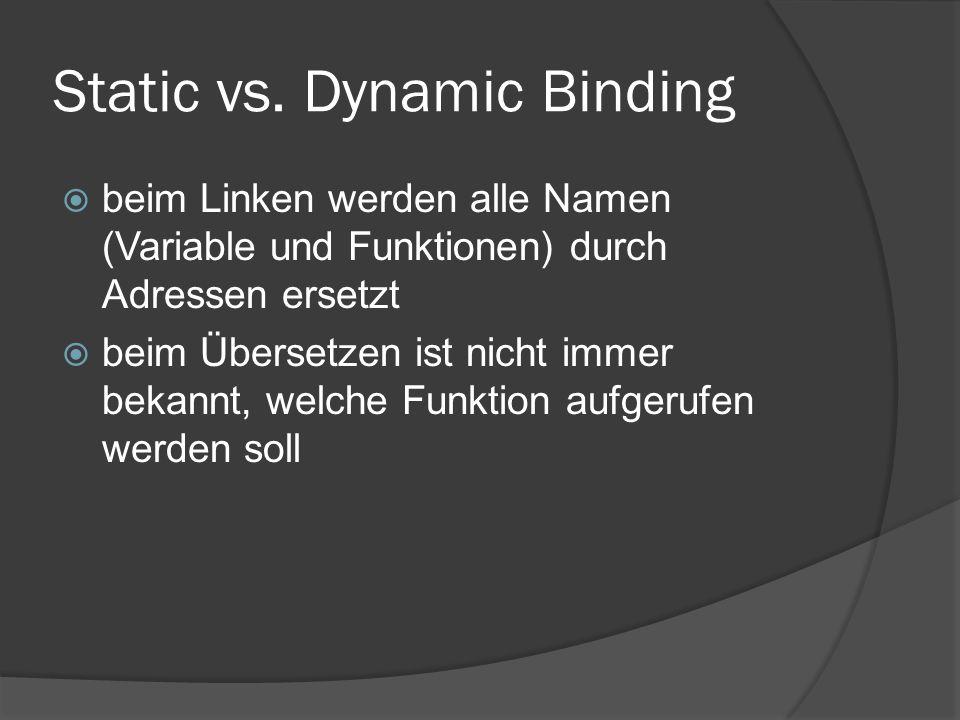Static vs. Dynamic Binding  beim Linken werden alle Namen (Variable und Funktionen) durch Adressen ersetzt  beim Übersetzen ist nicht immer bekannt,