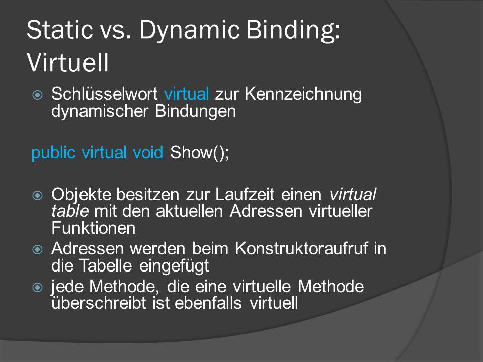 Static vs. Dynamic Binding: Virtuell  Schlüsselwort virtual zur Kennzeichnung dynamischer Bindungen public virtual void Show();  Objekte besitzen zu