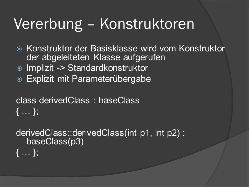 Vererbung – Konstruktoren  Konstruktor der Basisklasse wird vom Konstruktor der abgeleiteten Klasse aufgerufen  Implizit -> Standardkonstruktor  Ex