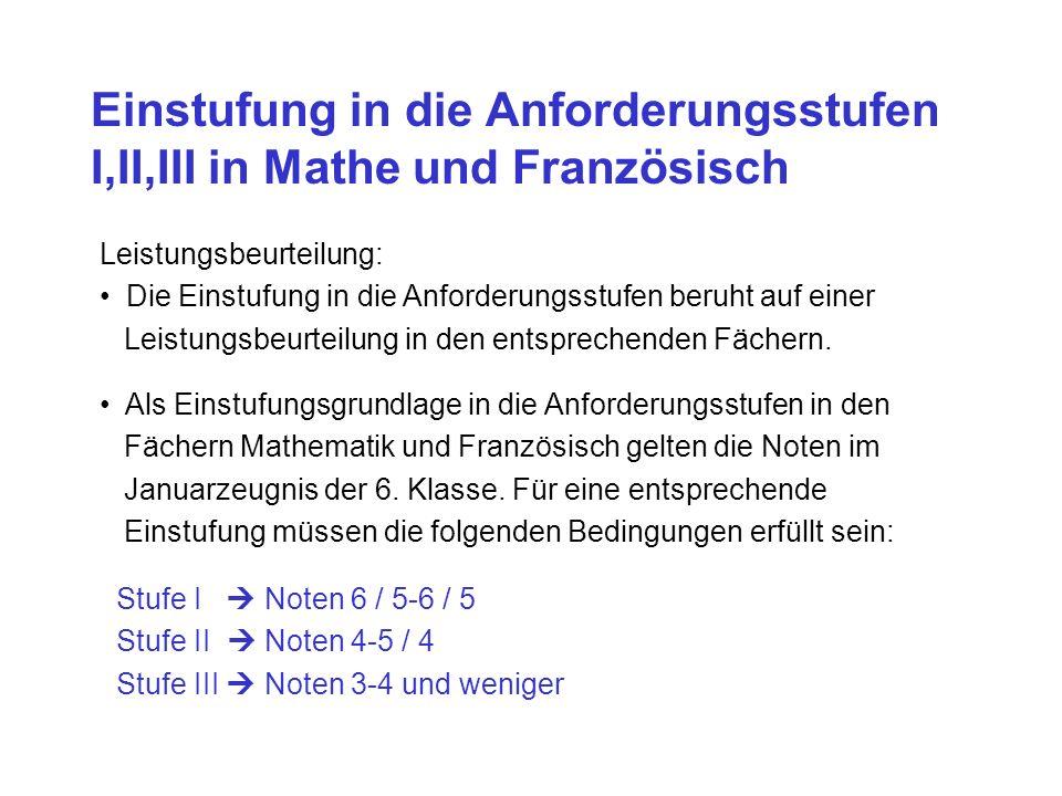 Einstufung in die Anforderungsstufen I,II,III in Mathe und Französisch Leistungsbeurteilung: Die Einstufung in die Anforderungsstufen beruht auf einer Leistungsbeurteilung in den entsprechenden Fächern.