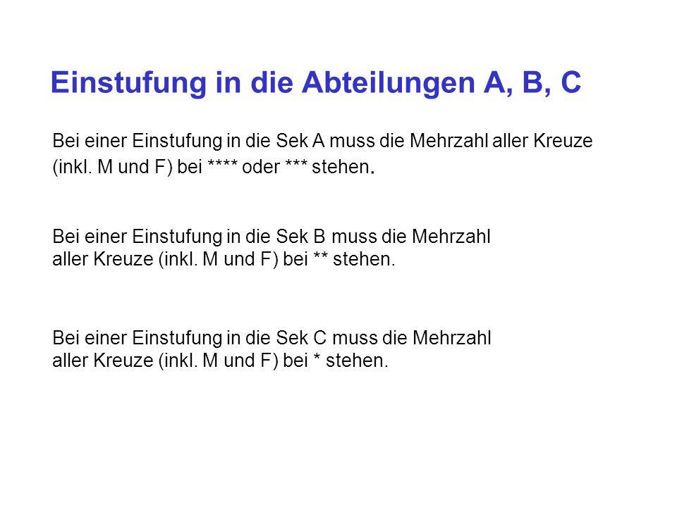 Einstufung in die Abteilungen A, B, C Bei einer Einstufung in die Sek A muss die Mehrzahl aller Kreuze (inkl.