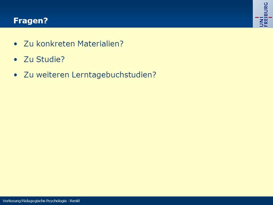 Vorlesung Pädagogische Psychologie - Renkl Fragen.