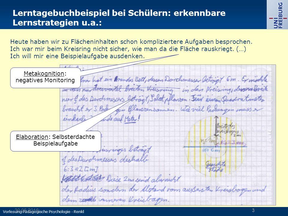Vorlesung Pädagogische Psychologie - Renkl 30.05.20163 Lerntagebuchbeispiel bei Schülern: erkennbare Lernstrategien u.a.: Heute haben wir zu Flächeninhalten schon kompliziertere Aufgaben besprochen.