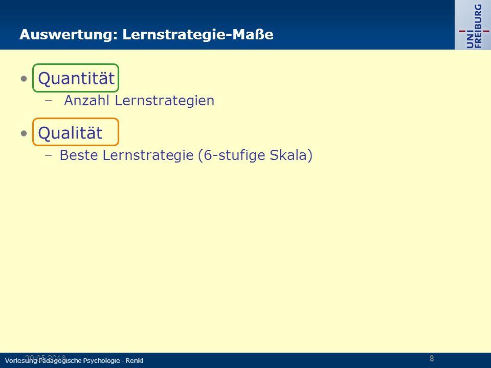 Vorlesung Pädagogische Psychologie - Renkl 30.05.20168 Auswertung: Lernstrategie-Maße Quantität – Anzahl Lernstrategien Qualität –Beste Lernstrategie (6-stufige Skala)
