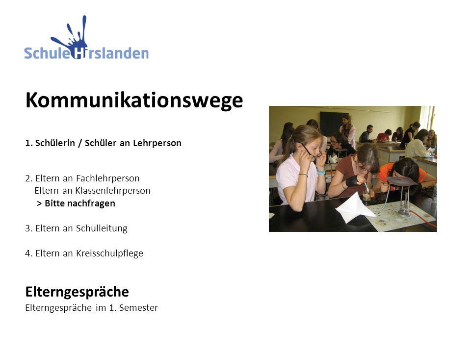 Kommunikationswege 1. Schülerin / Schüler an Lehrperson 2.
