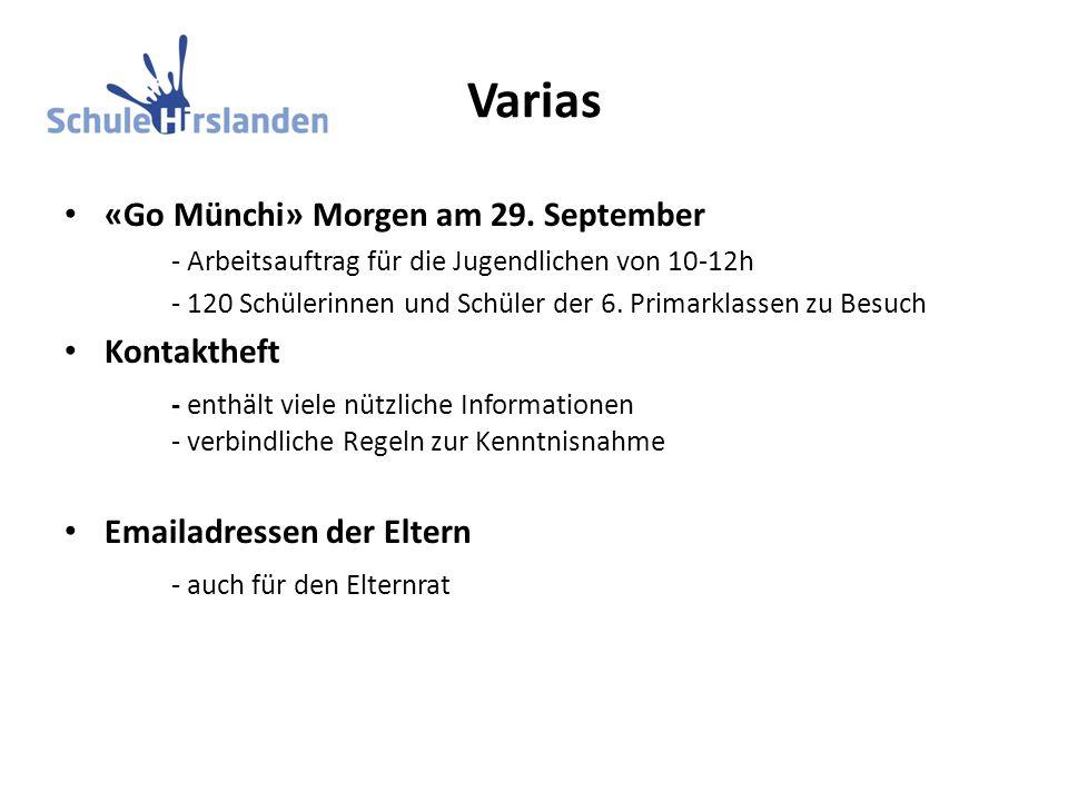 Varias «Go Münchi» Morgen am 29. September - Arbeitsauftrag für die Jugendlichen von 10-12h - 120 Schülerinnen und Schüler der 6. Primarklassen zu Bes