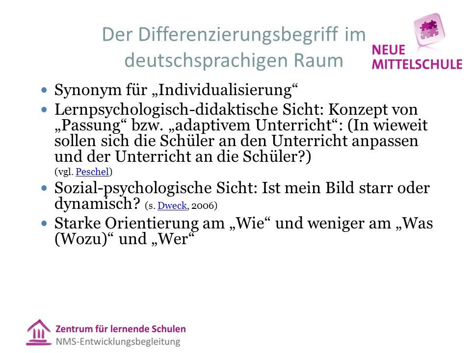 """Der Differenzierungsbegriff im deutschsprachigen Raum Synonym für """"Individualisierung"""" Lernpsychologisch-didaktische Sicht: Konzept von """"Passung"""" bzw."""