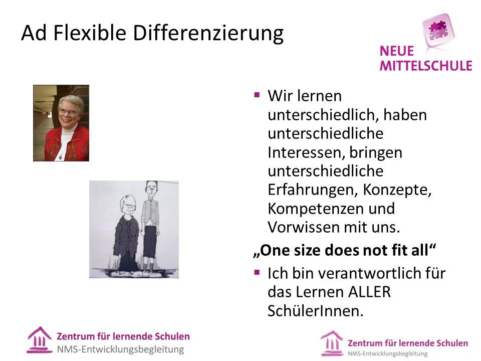 Ad Flexible Differenzierung  Wir lernen unterschiedlich, haben unterschiedliche Interessen, bringen unterschiedliche Erfahrungen, Konzepte, Kompetenz