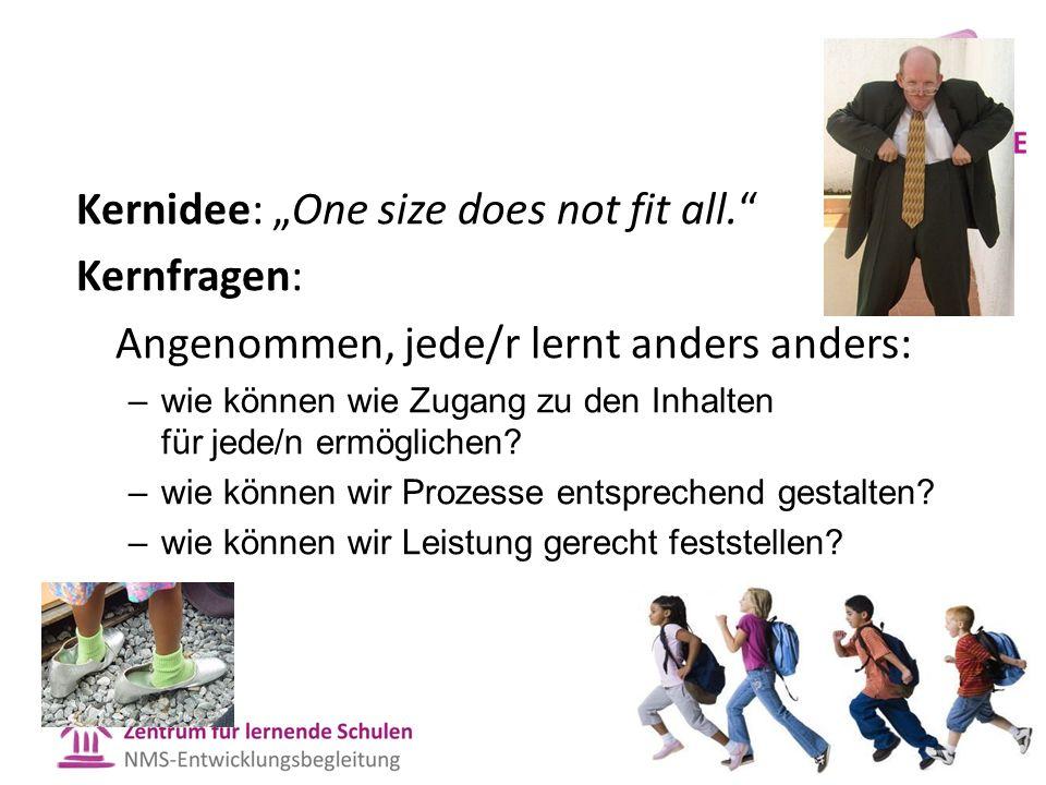 """Kernidee: """"One size does not fit all."""" Kernfragen: Angenommen, jede/r lernt anders anders: –wie können wie Zugang zu den Inhalten für jede/n ermöglich"""