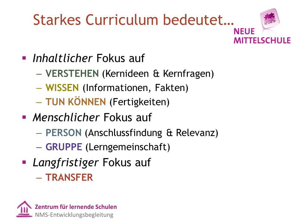 Starkes Curriculum bedeutet…  Inhaltlicher Fokus auf – VERSTEHEN (Kernideen & Kernfragen) – WISSEN (Informationen, Fakten) – TUN KÖNNEN (Fertigkeiten