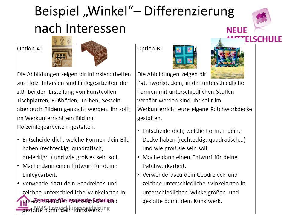 """Beispiel """"Winkel""""– Differenzierung nach Interessen Option A: Die Abbildungen zeigen dir Intarsienarbeiten aus Holz. Intarsien sind Einlegearbeiten die"""