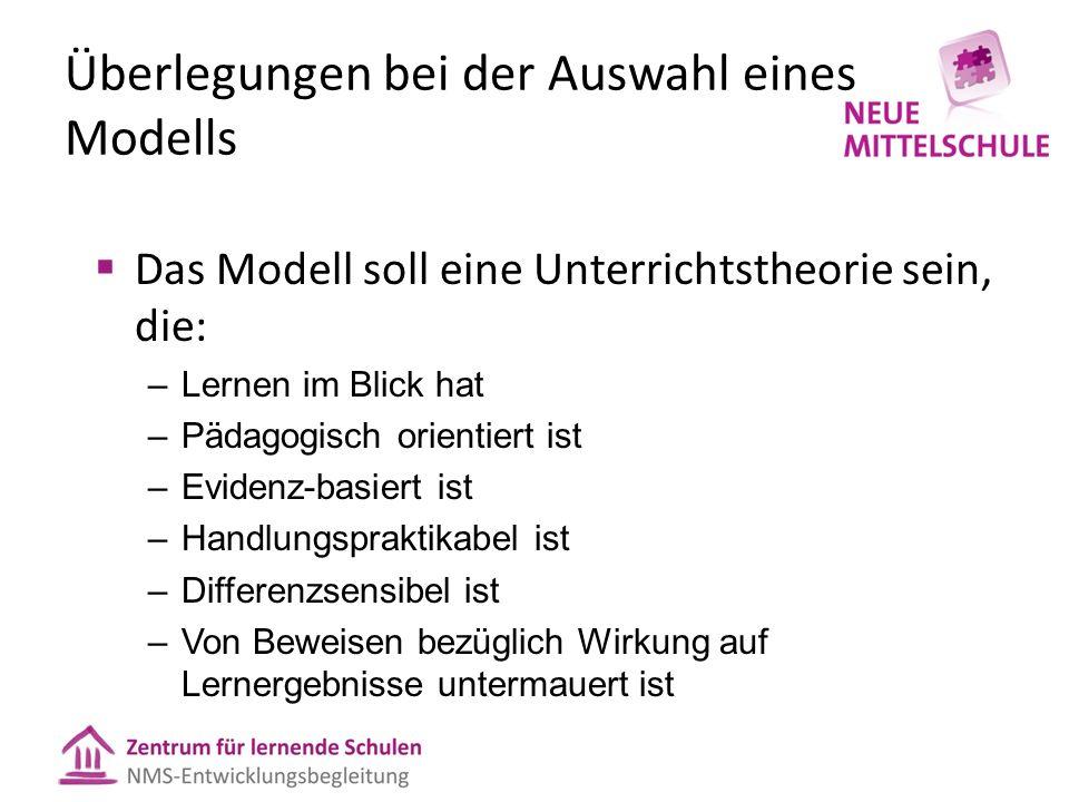 Überlegungen bei der Auswahl eines Modells  Das Modell soll eine Unterrichtstheorie sein, die: –Lernen im Blick hat –Pädagogisch orientiert ist –Evid