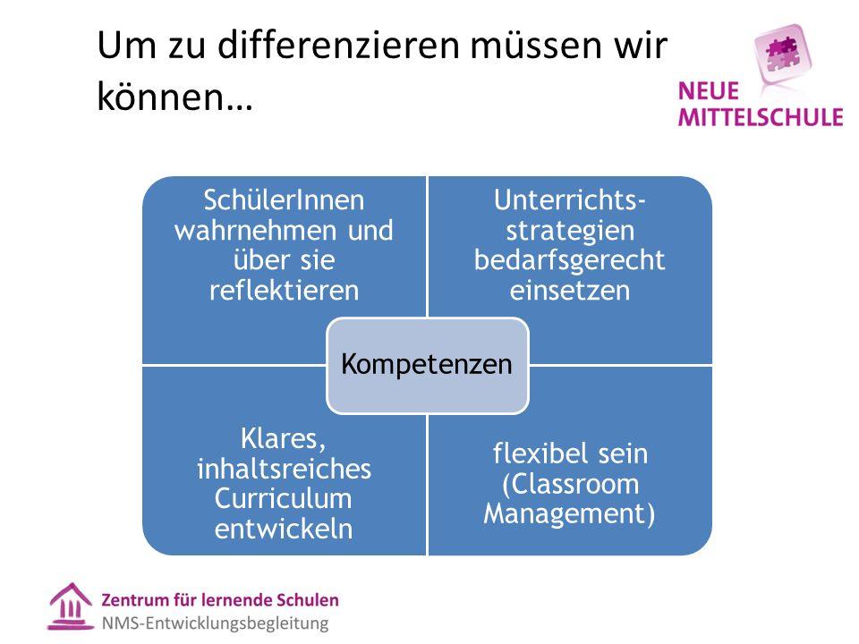 Um zu differenzieren müssen wir können… SchülerInnen wahrnehmen und über sie reflektieren Unterrichts- strategien bedarfsgerecht einsetzen Klares, inh