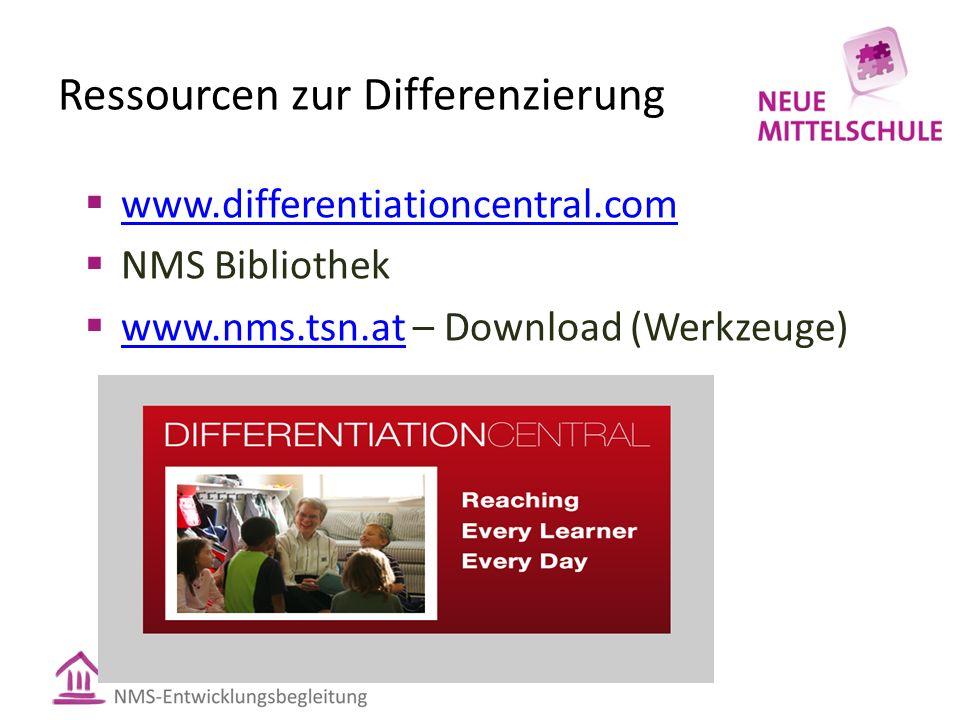 Ressourcen zur Differenzierung  www.differentiationcentral.com www.differentiationcentral.com  NMS Bibliothek  www.nms.tsn.at – Download (Werkzeuge