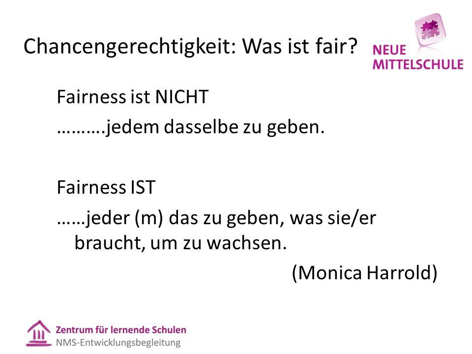 Chancengerechtigkeit: Was ist fair? Fairness ist NICHT ……….jedem dasselbe zu geben. Fairness IST ……jeder (m) das zu geben, was sie/er braucht, um zu w