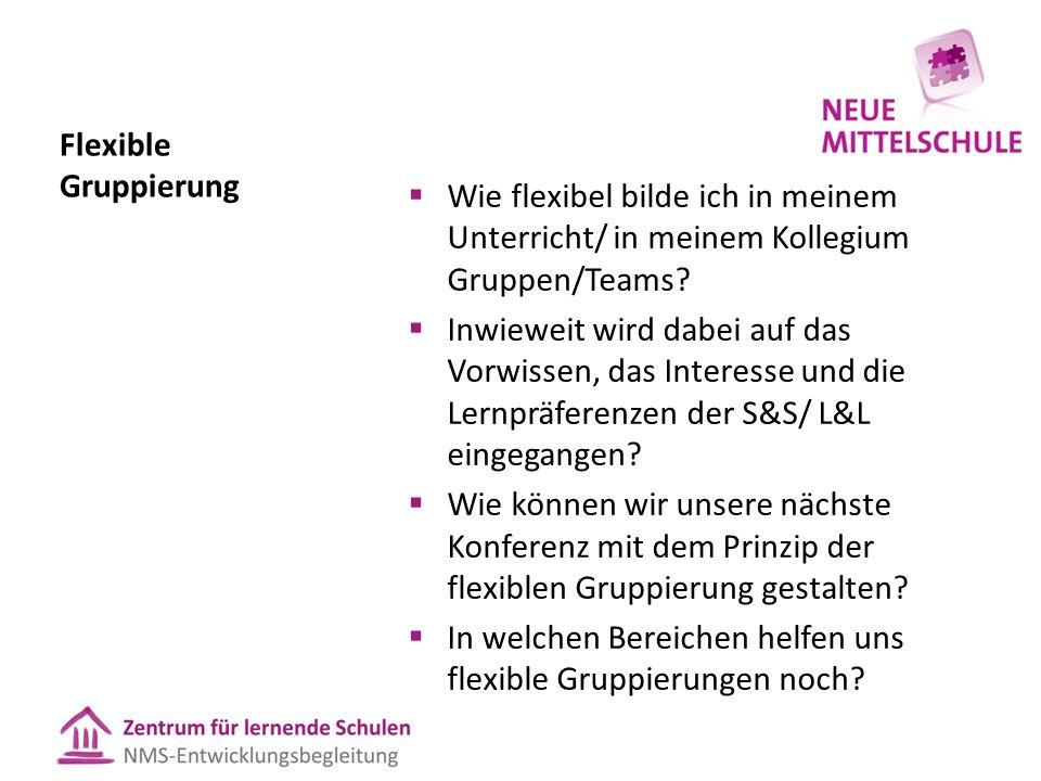 Flexible Gruppierung  Wie flexibel bilde ich in meinem Unterricht/ in meinem Kollegium Gruppen/Teams?  Inwieweit wird dabei auf das Vorwissen, das I