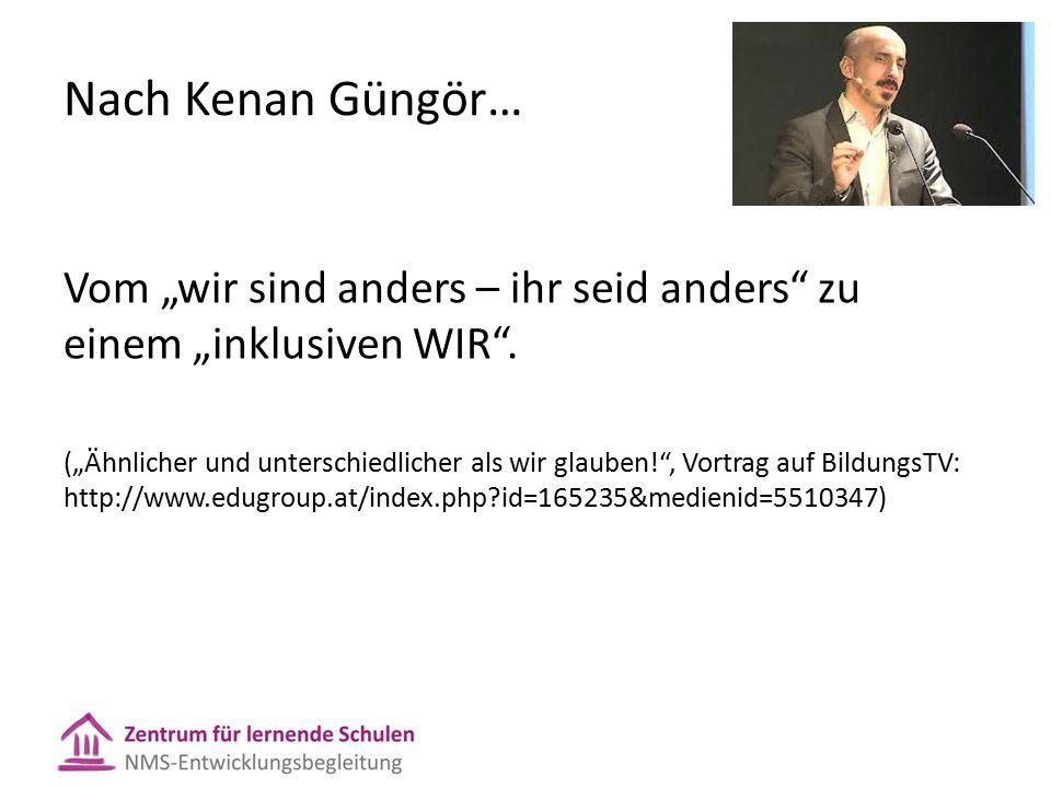 """Nach Kenan Güngör… Vom """"wir sind anders – ihr seid anders"""" zu einem """"inklusiven WIR"""". (""""Ähnlicher und unterschiedlicher als wir glauben!"""", Vortrag auf"""