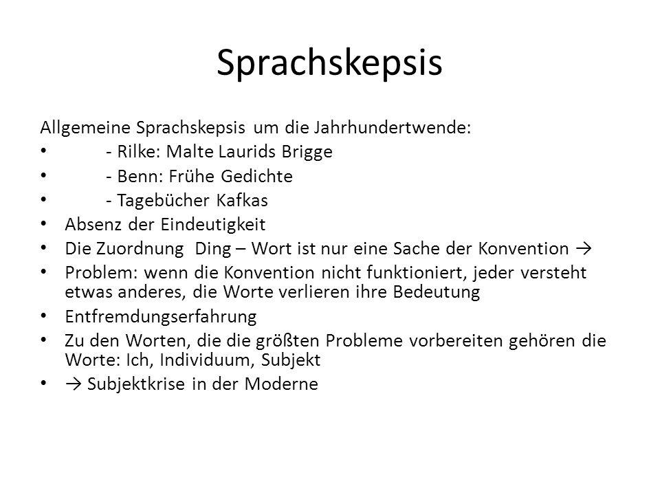 Sprachskepsis Allgemeine Sprachskepsis um die Jahrhundertwende: - Rilke: Malte Laurids Brigge - Benn: Frühe Gedichte - Tagebücher Kafkas Absenz der Ei