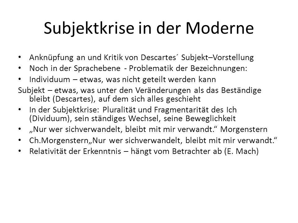 Subjektkrise in der Moderne Anknüpfung an und Kritik von Descartes´ Subjekt–Vorstellung Noch in der Sprachebene - Problematik der Bezeichnungen: Indiv