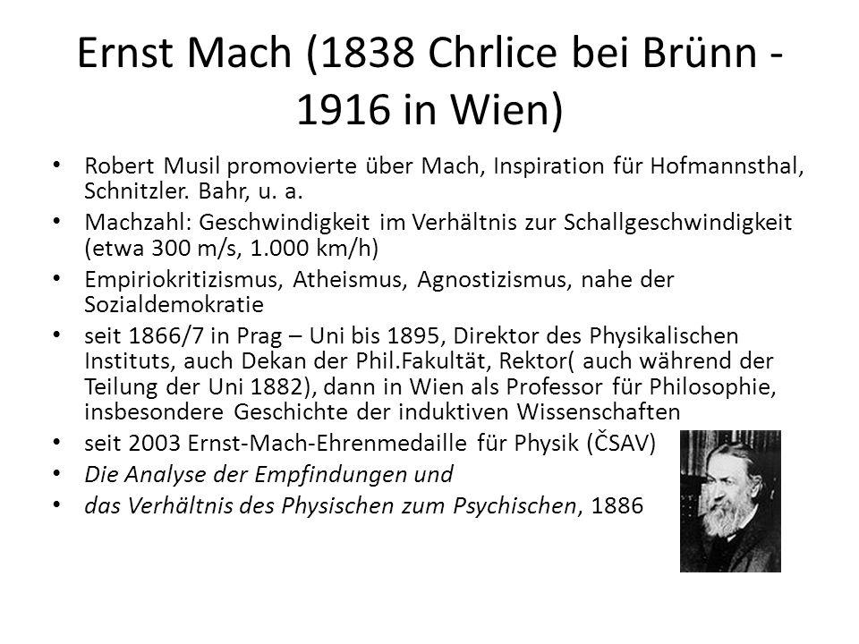 Ernst Mach (1838 Chrlice bei Brünn - 1916 in Wien) Robert Musil promovierte über Mach, Inspiration für Hofmannsthal, Schnitzler. Bahr, u. a. Machzahl: