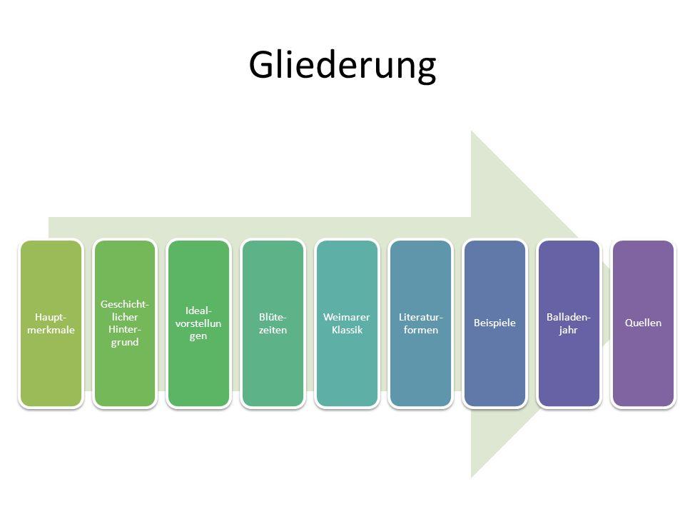 Gliederung Haupt- merkmale Geschicht- licher Hinter- grund Ideal- vorstellun gen Blüte- zeiten Weimarer Klassik Literatur- formen Beispiele Balladen-