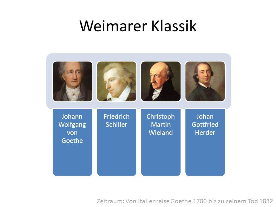 Weimarer Klassik Johann Wolfgang von Goethe Friedrich Schiller Christoph Martin Wieland Johan Gottfried Herder Zeitraum: Von Italienreise Goethe 1786
