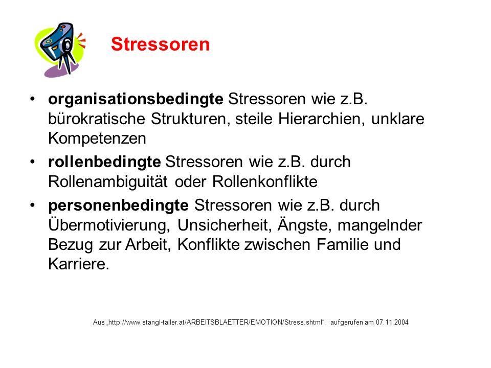 organisationsbedingte Stressoren wie z.B.