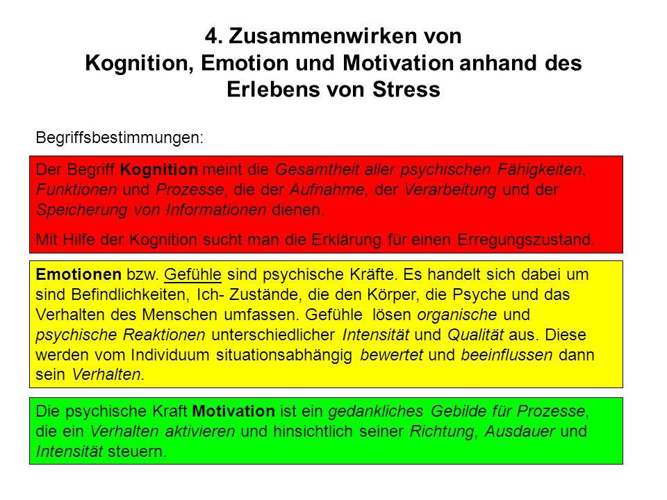 4. Zusammenwirken von Kognition, Emotion und Motivation anhand des Erlebens von Stress Emotionen bzw. Gefühle sind psychische Kräfte. Es handelt sich