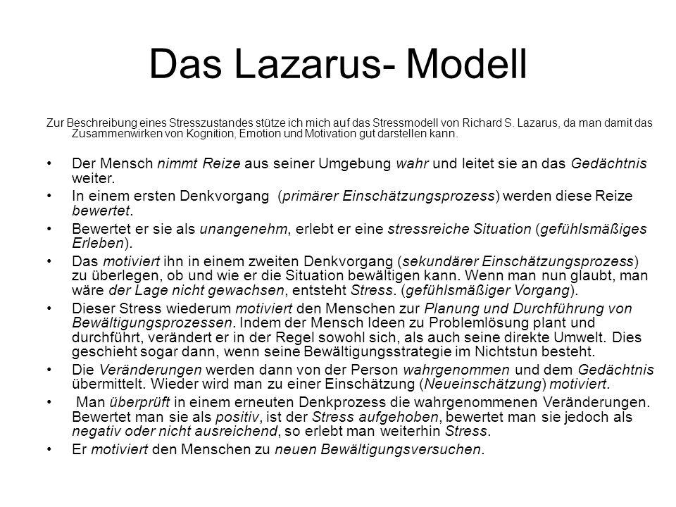 Das Lazarus- Modell Zur Beschreibung eines Stresszustandes stütze ich mich auf das Stressmodell von Richard S.