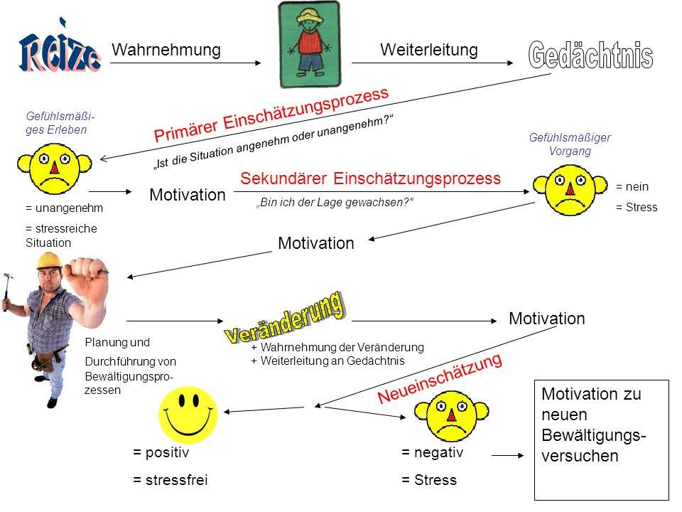 """WahrnehmungWeiterleitung Primärer Einschätzungsprozess = unangenehm = stressreiche Situation Motivation Sekundärer Einschätzungsprozess """"Ist die Situation angenehm oder unangenehm """"Bin ich der Lage gewachsen = nein = Stress Motivation Planung und Durchführung von Bewältigungspro- zessen + Wahrnehmung der Veränderung + Weiterleitung an Gedächtnis Motivation Neueinschätzung = positiv = stressfrei = negativ = Stress Motivation zu neuen Bewältigungs- versuchen Gefühlsmäßi- ges Erleben Gefühlsmäßiger Vorgang"""