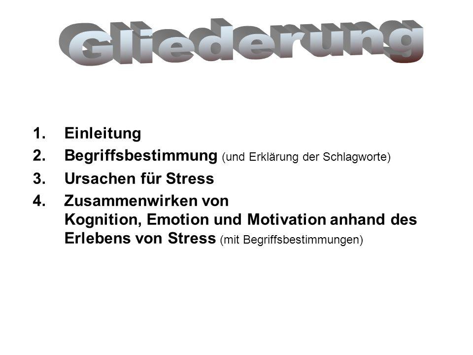 1.Einleitung 2.Begriffsbestimmung (und Erklärung der Schlagworte) 3.Ursachen für Stress 4.Zusammenwirken von Kognition, Emotion und Motivation anhand des Erlebens von Stress (mit Begriffsbestimmungen)