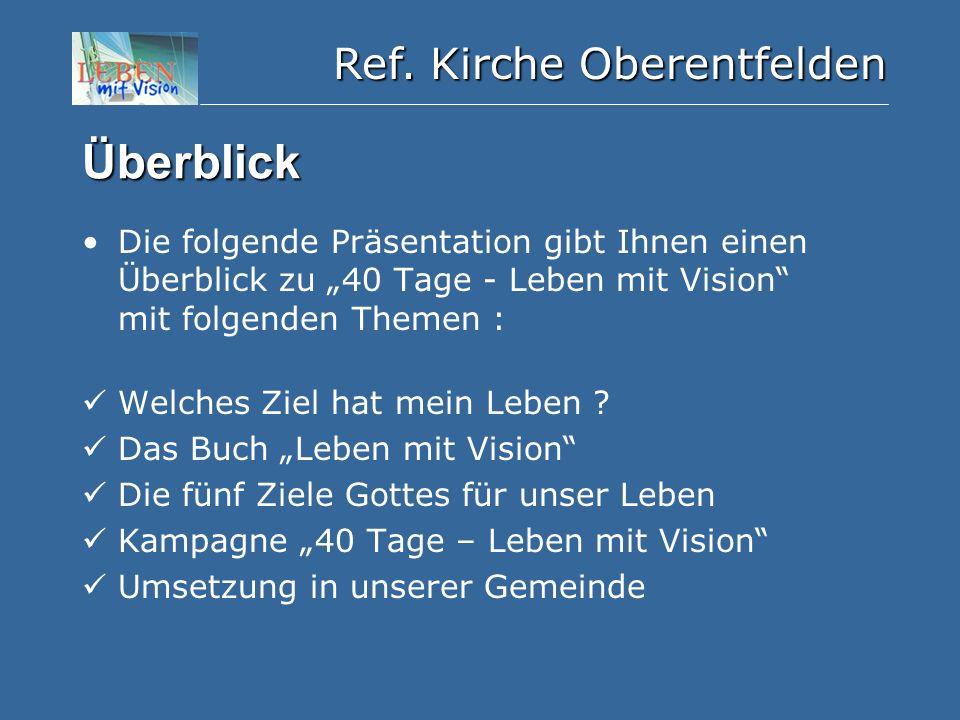 """Ref. Kirche Oberentfelden Überblick Die folgende Präsentation gibt Ihnen einen Überblick zu """"40 Tage - Leben mit Vision"""" mit folgenden Themen : Welche"""