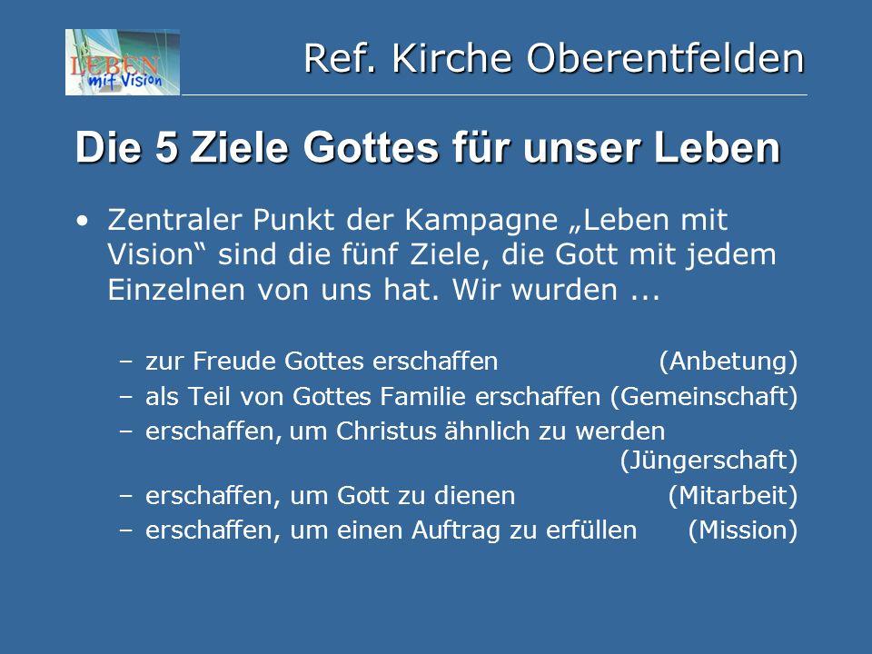 """Ref. Kirche Oberentfelden Die 5 Ziele Gottes für unser Leben Zentraler Punkt der Kampagne """"Leben mit Vision"""" sind die fünf Ziele, die Gott mit jedem E"""