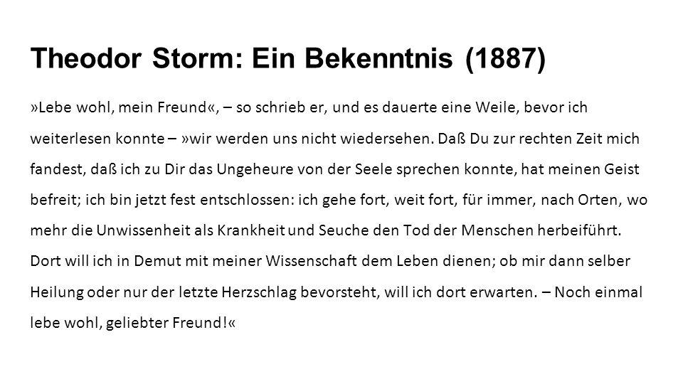 Theodor Storm: Ein Bekenntnis (1887) »Lebe wohl, mein Freund«, – so schrieb er, und es dauerte eine Weile, bevor ich weiterlesen konnte – »wir werden uns nicht wiedersehen.