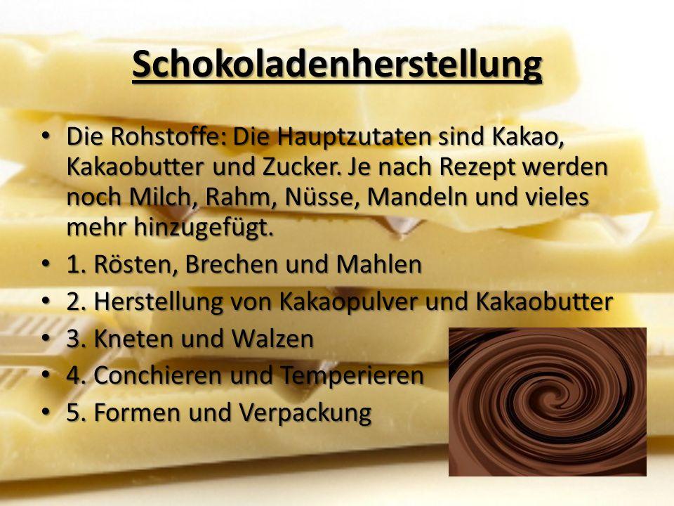 Schokoladenherstellung Die Rohstoffe: Die Hauptzutaten sind Kakao, Kakaobutter und Zucker.
