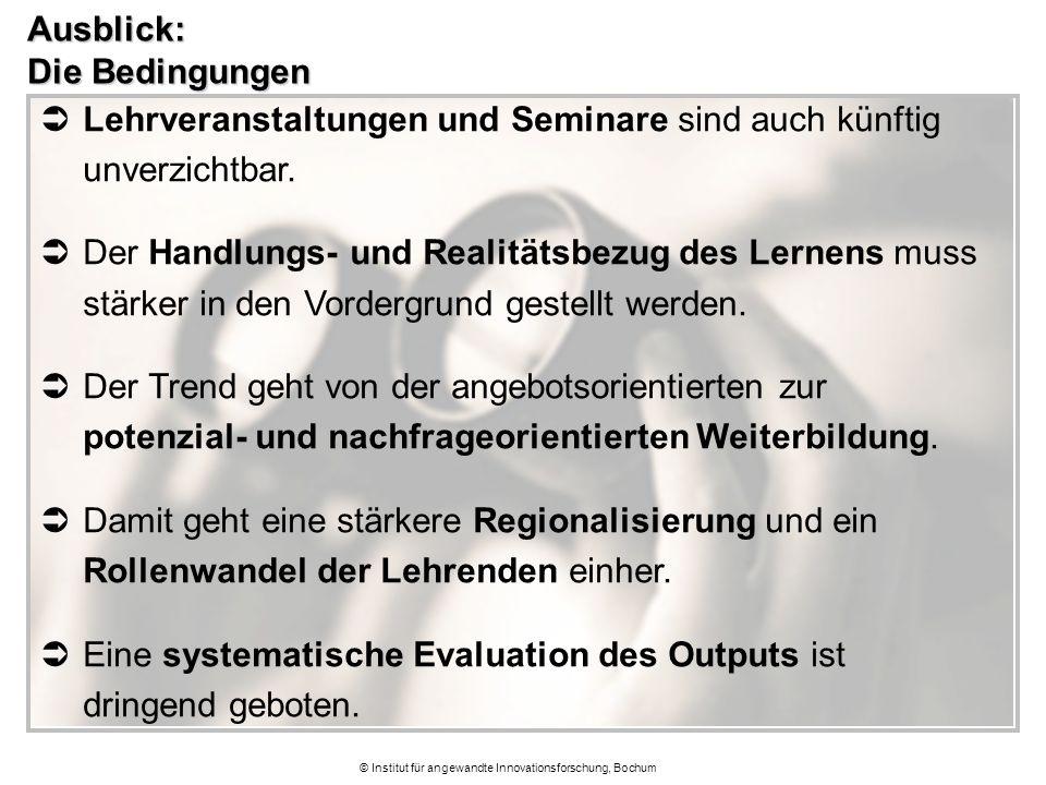 © Institut für angewandte Innovationsforschung, Bochum Ausblick: Die Bedingungen  Lehrveranstaltungen und Seminare sind auch künftig unverzichtbar. 