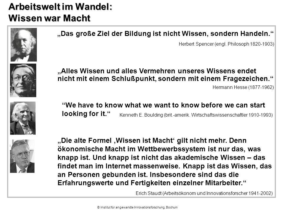 """© Institut für angewandte Innovationsforschung, Bochum Arbeitswelt im Wandel: Wissen war Macht """"We have to know what we want to know before we can sta"""